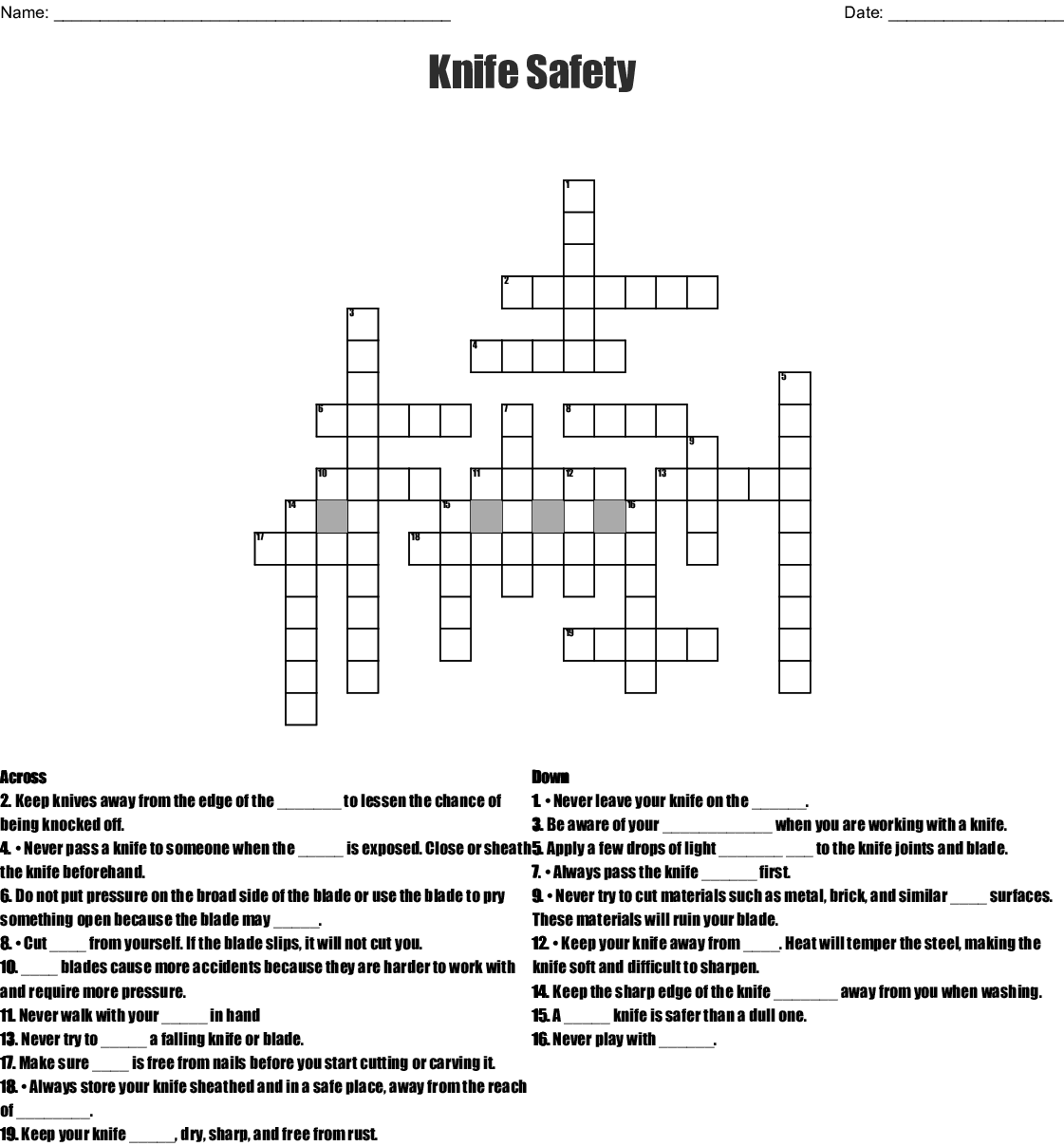 Kitchen Safety Crossword
