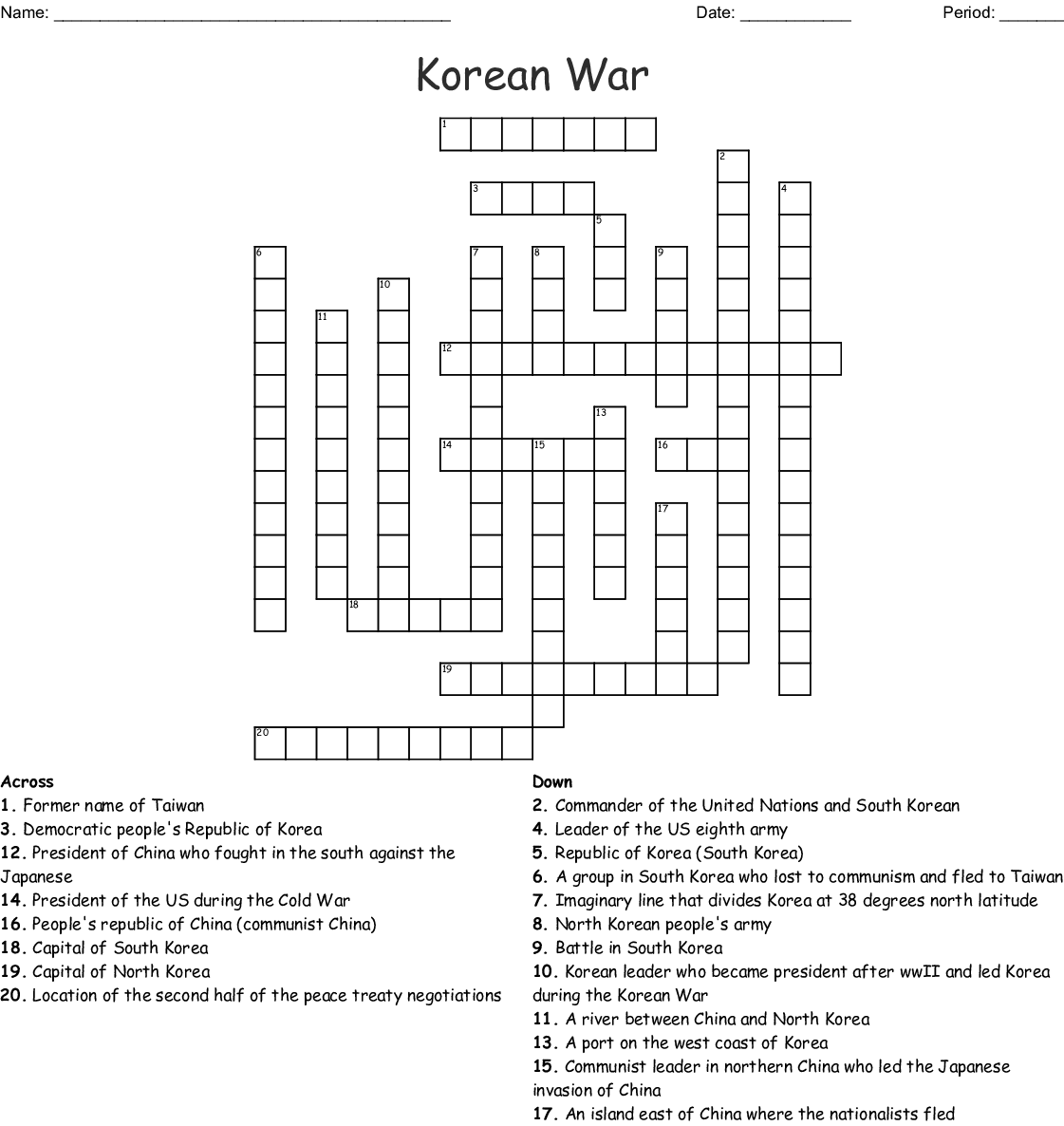 Korean War Crossword
