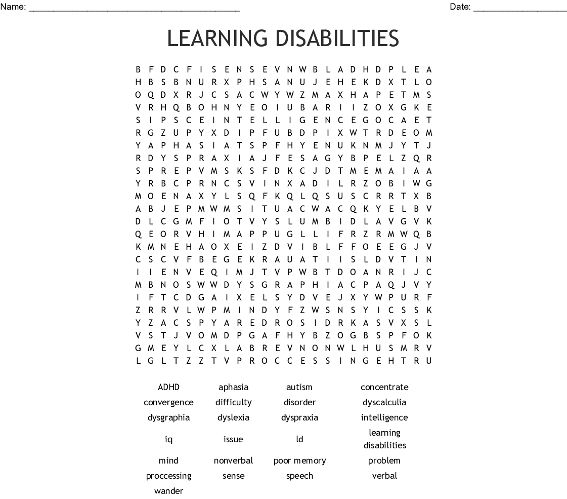 Learning Disabilities Word Search