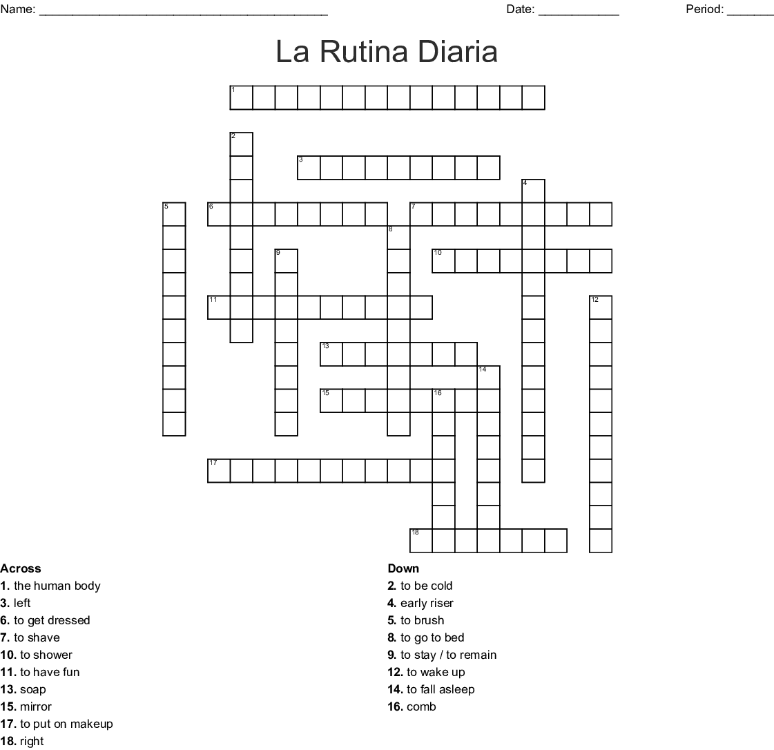 La Rutina Diaria Crossword