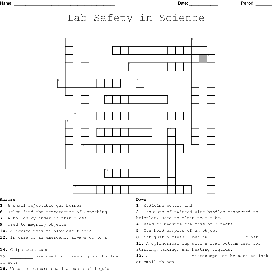 Science Lab Equipment Word Search