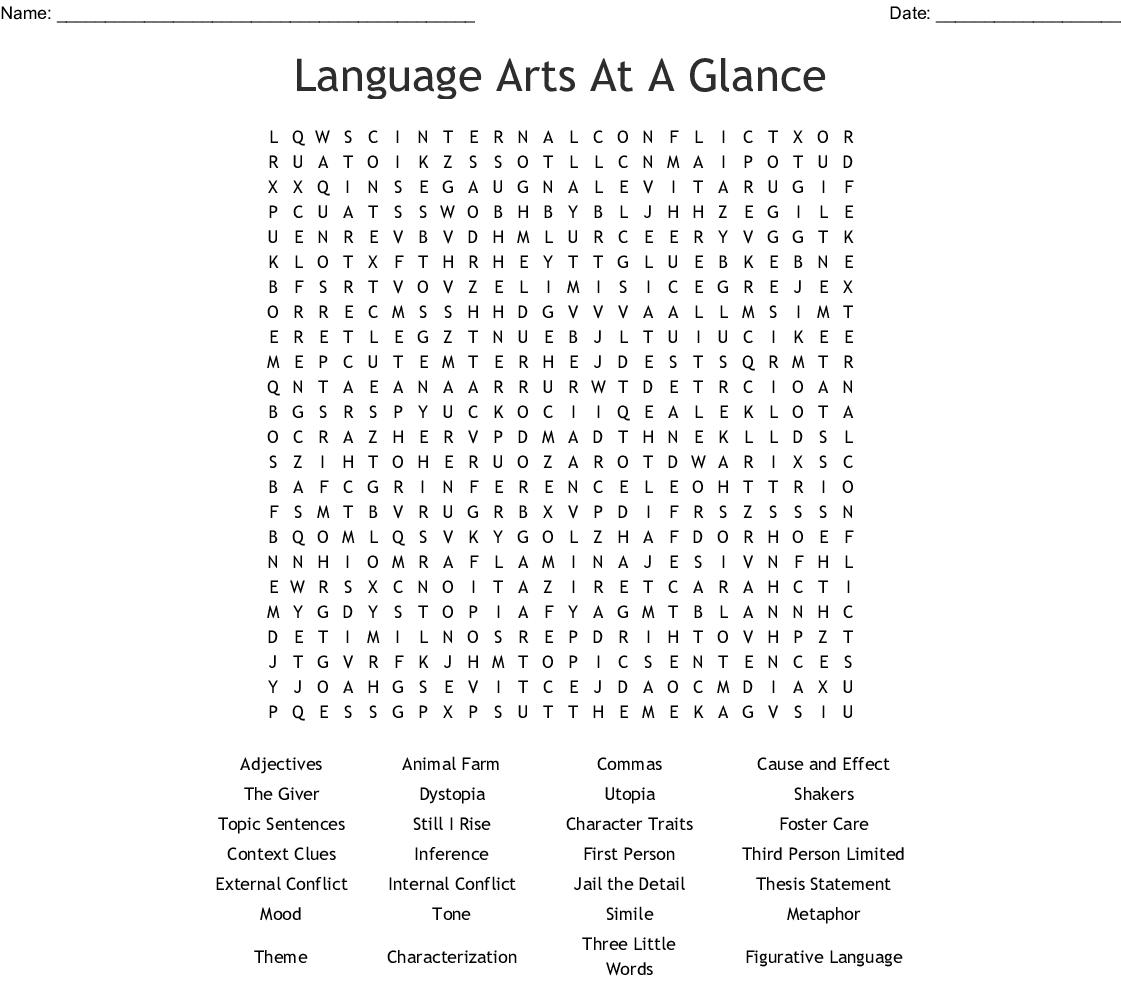 Language Arts Word Search