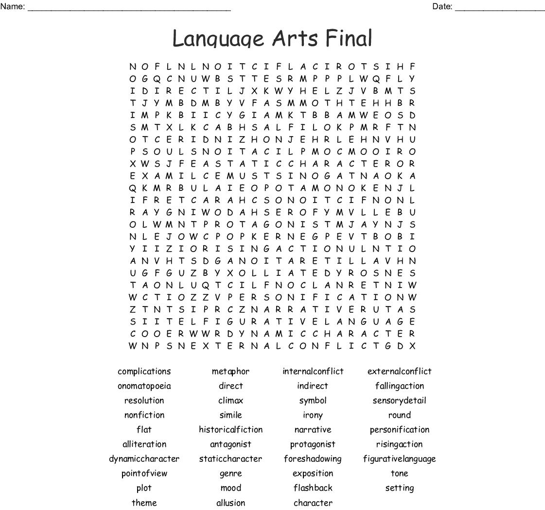 Language Arts Final Word Search