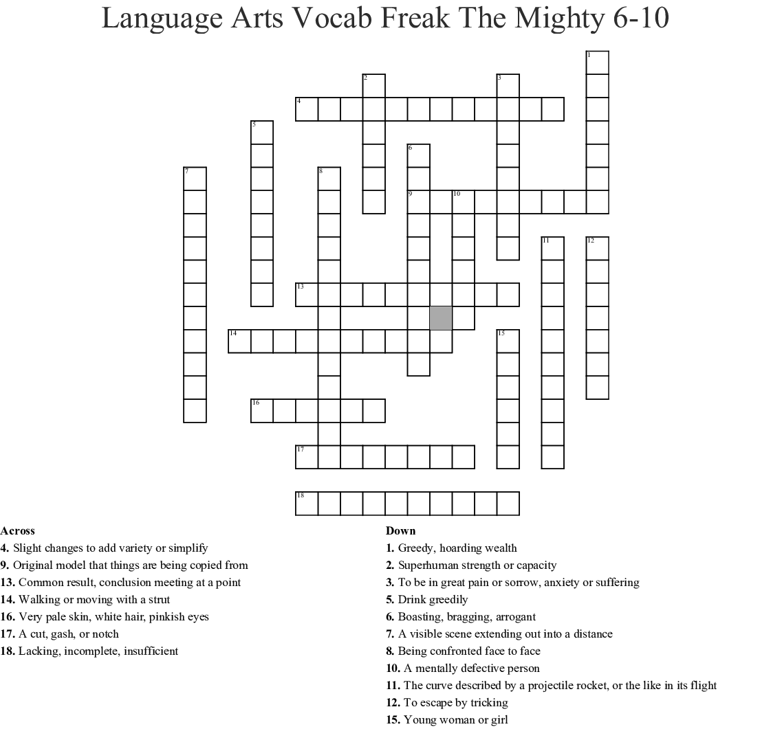 Freak The Mighty Chapters 6 10 Crossword