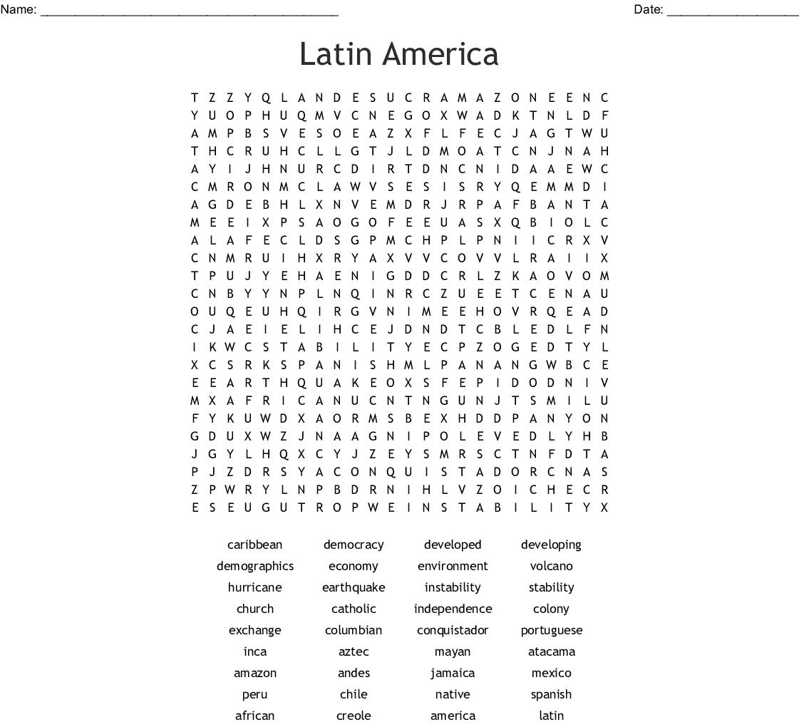 Latin America Word Search