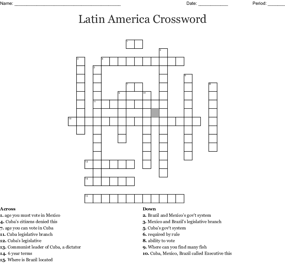 Latin America Crossword