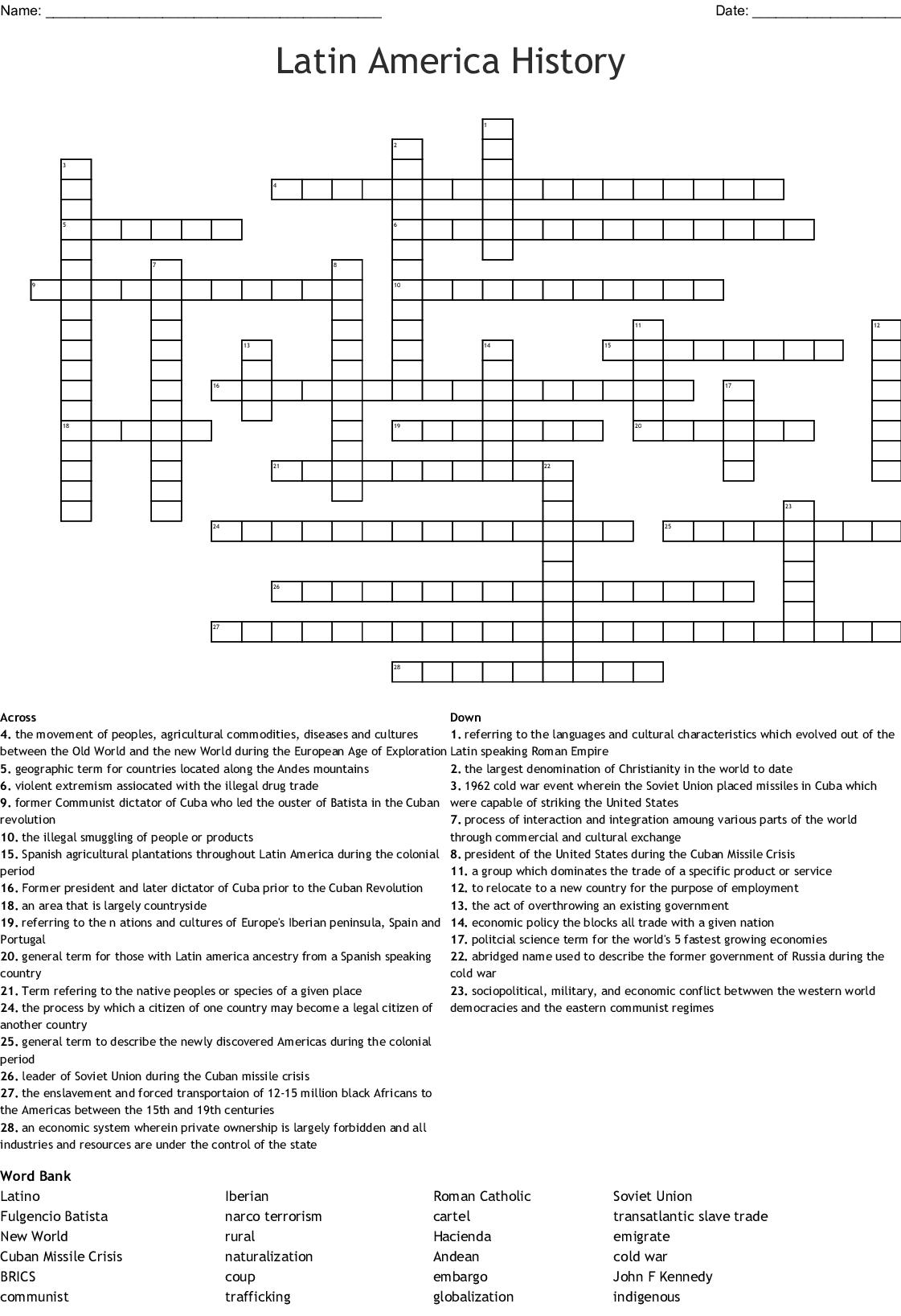 Latin America History Crossword