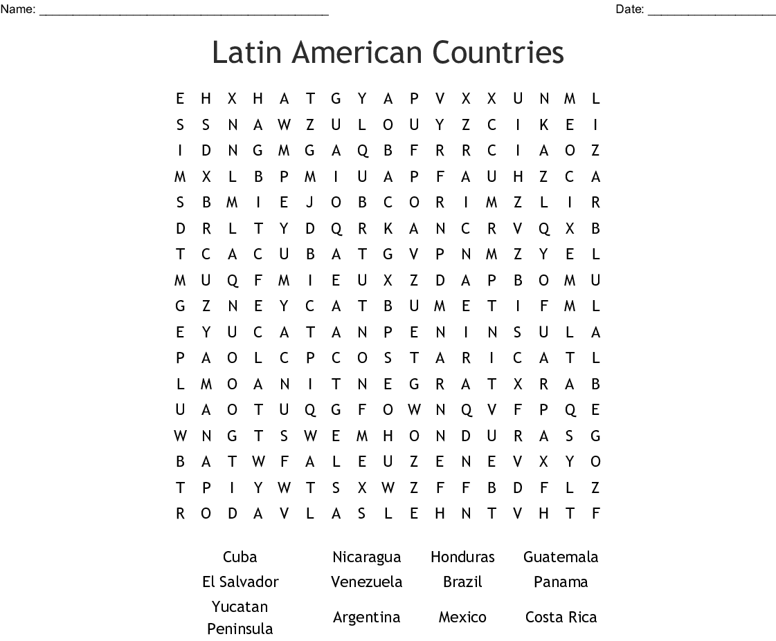 Latin American Countries Word Search