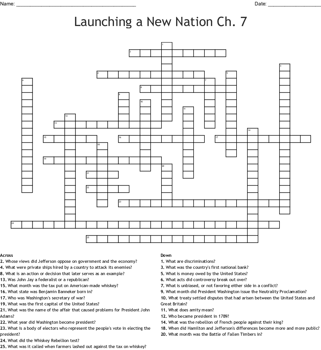Chapter 7 Launching The New Nation Crossword