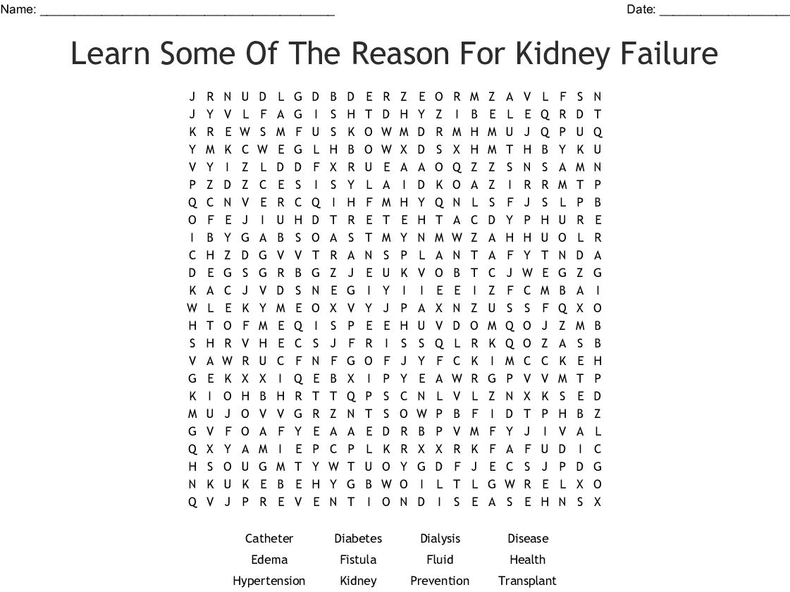 Chronic Kidney Disease Word Search