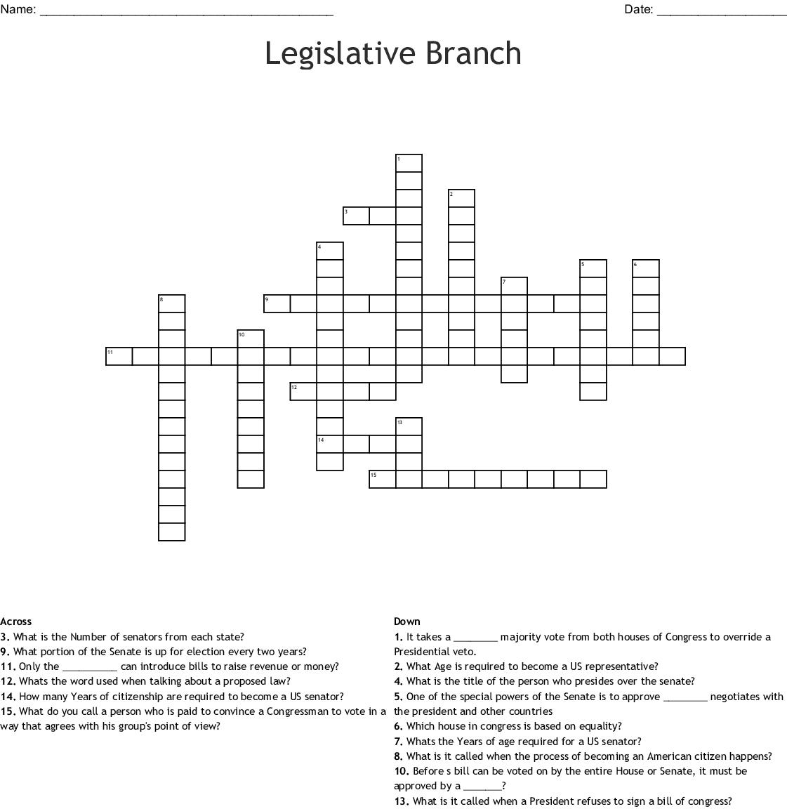 Legislative Branch Crossword