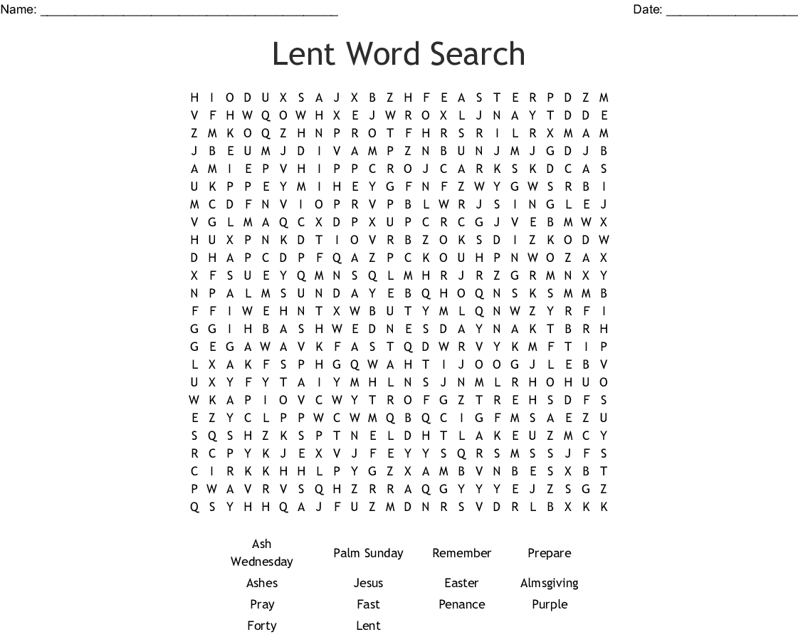 Lent Word Search