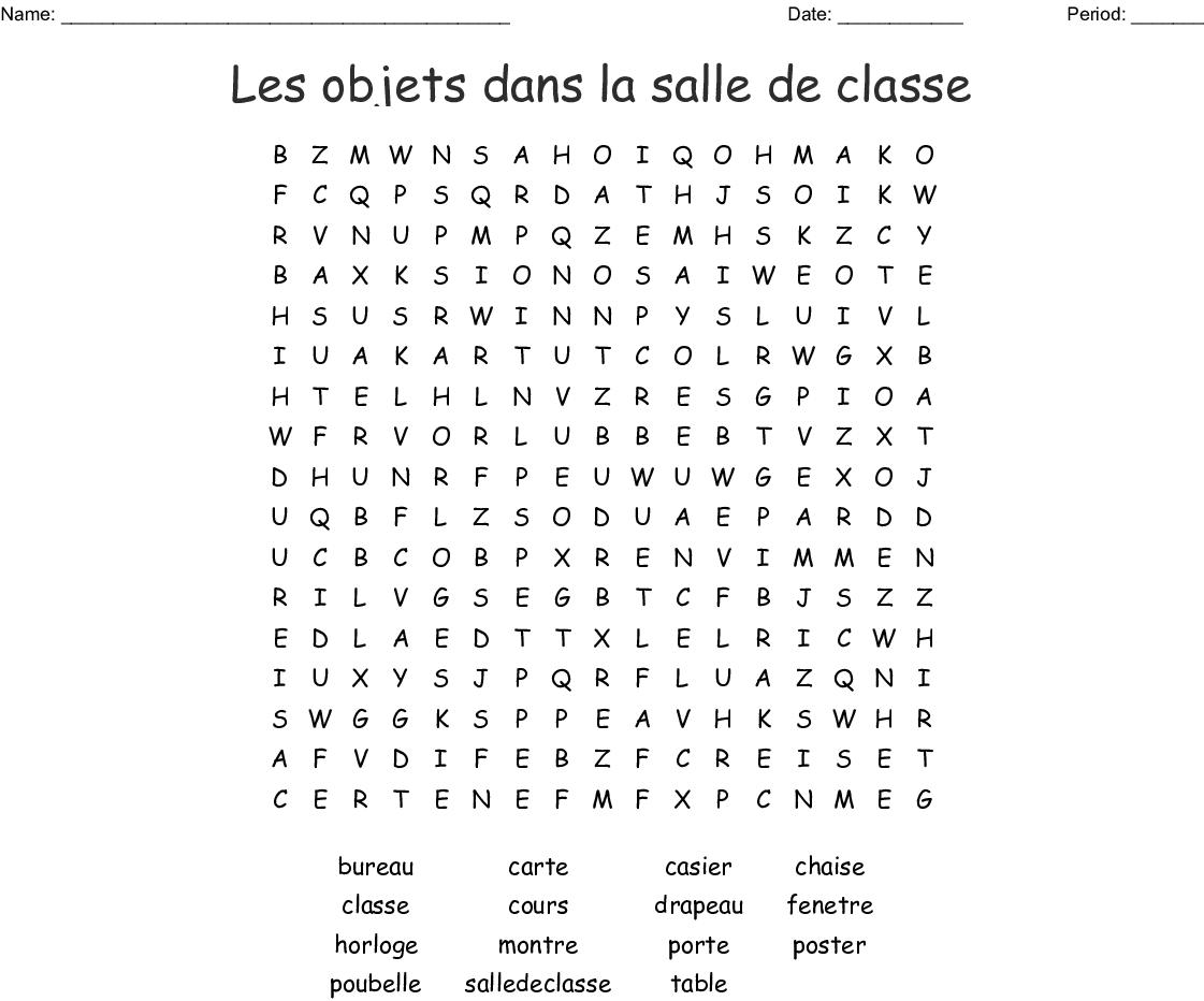 Les Objets Dans La Salle De Classe Word Search