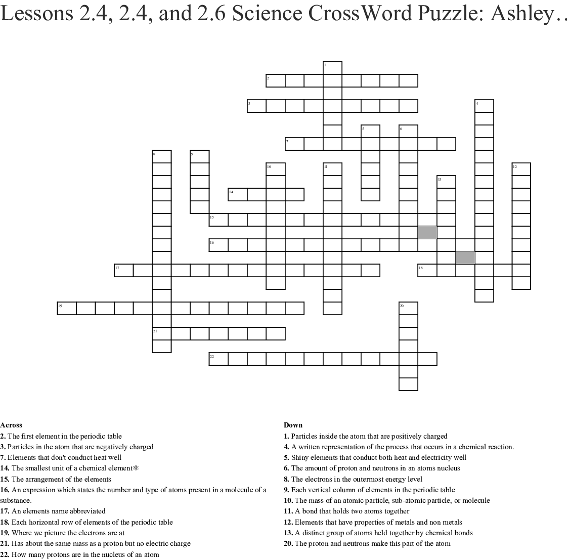 Lessons 2 4 2 4 And 2 6 Science Crossword Puzzle Ashley