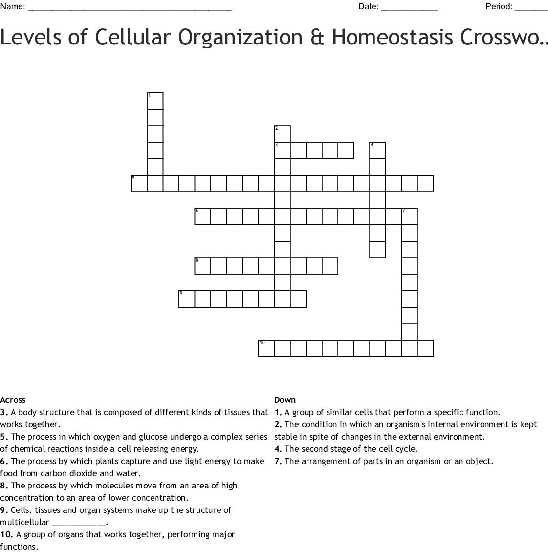 Levels Of Cellular Organization Amp Homeostasis Crossword