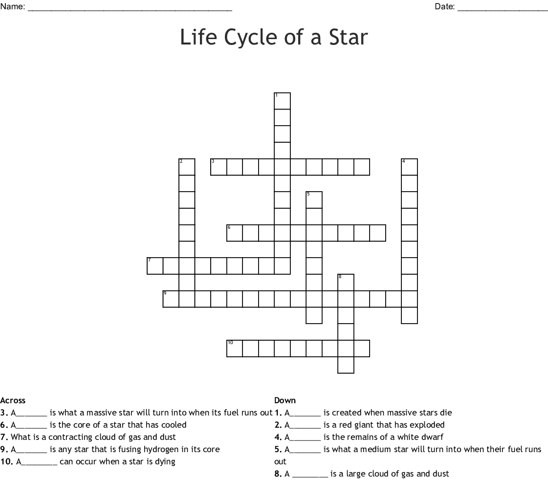 Life Cycle Of A Star Worksheet Answers Key