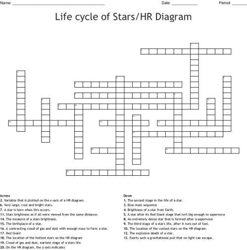 small resolution of life cycle of stars hr diagram crossword wordmintlife cycle of stars hr diagram crossword