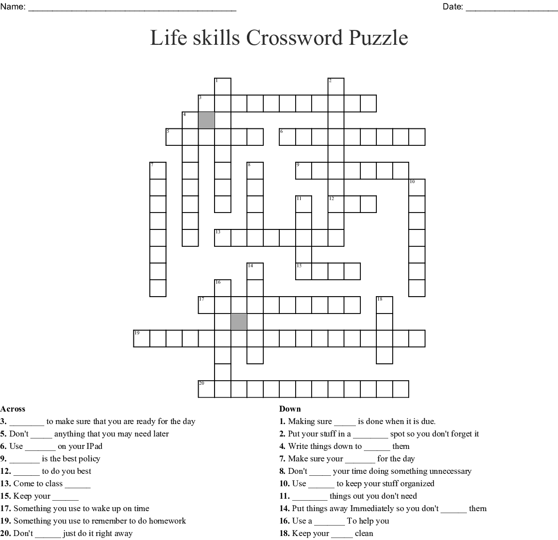 Life Skills Crossword Puzzle
