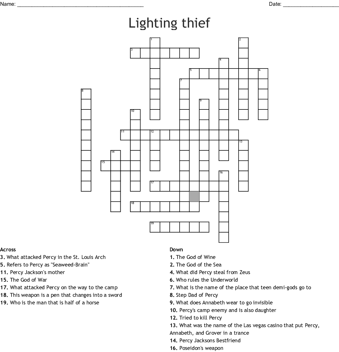 The Lightning Thief Word Search