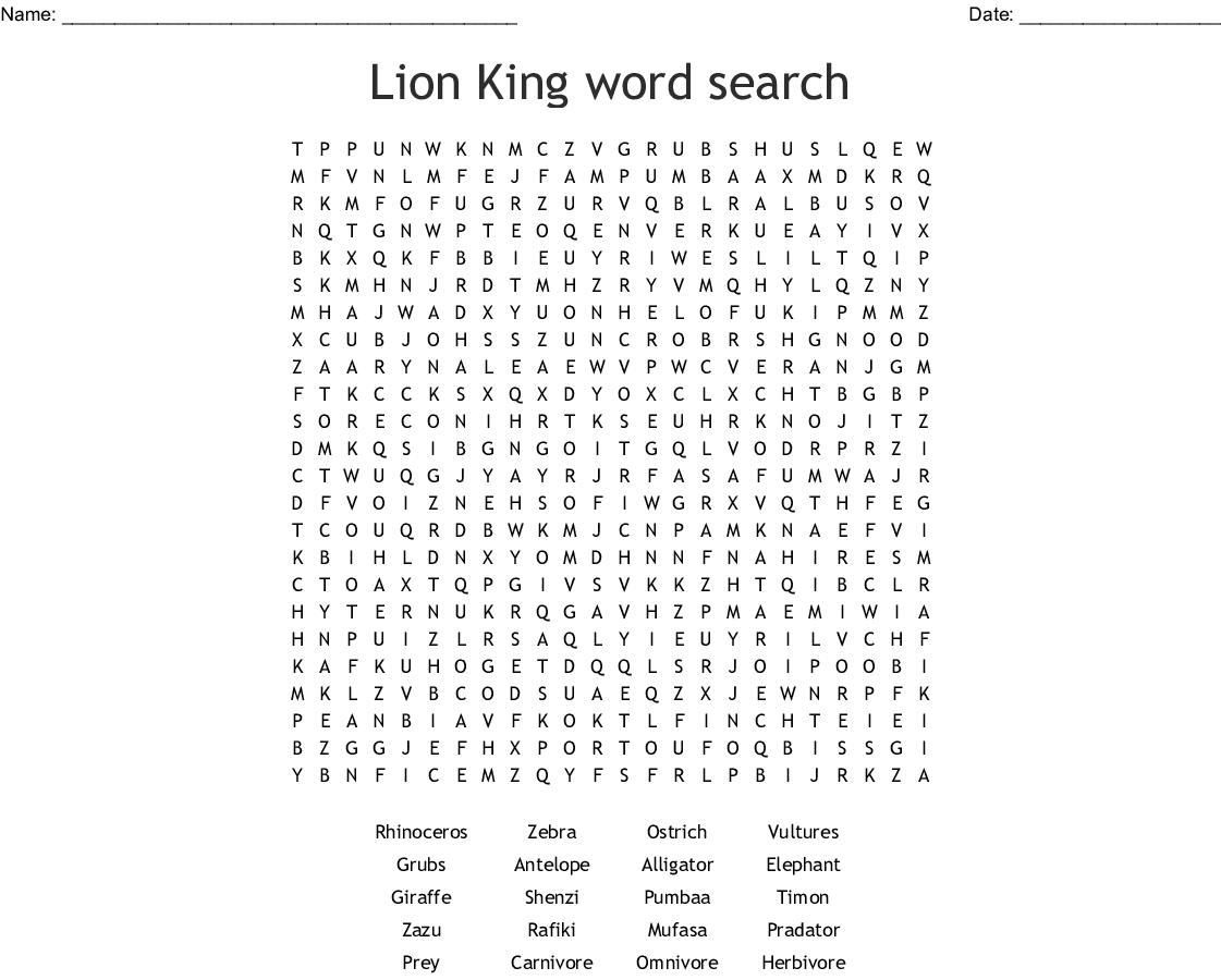 Lion King Ecosystem Worksheet