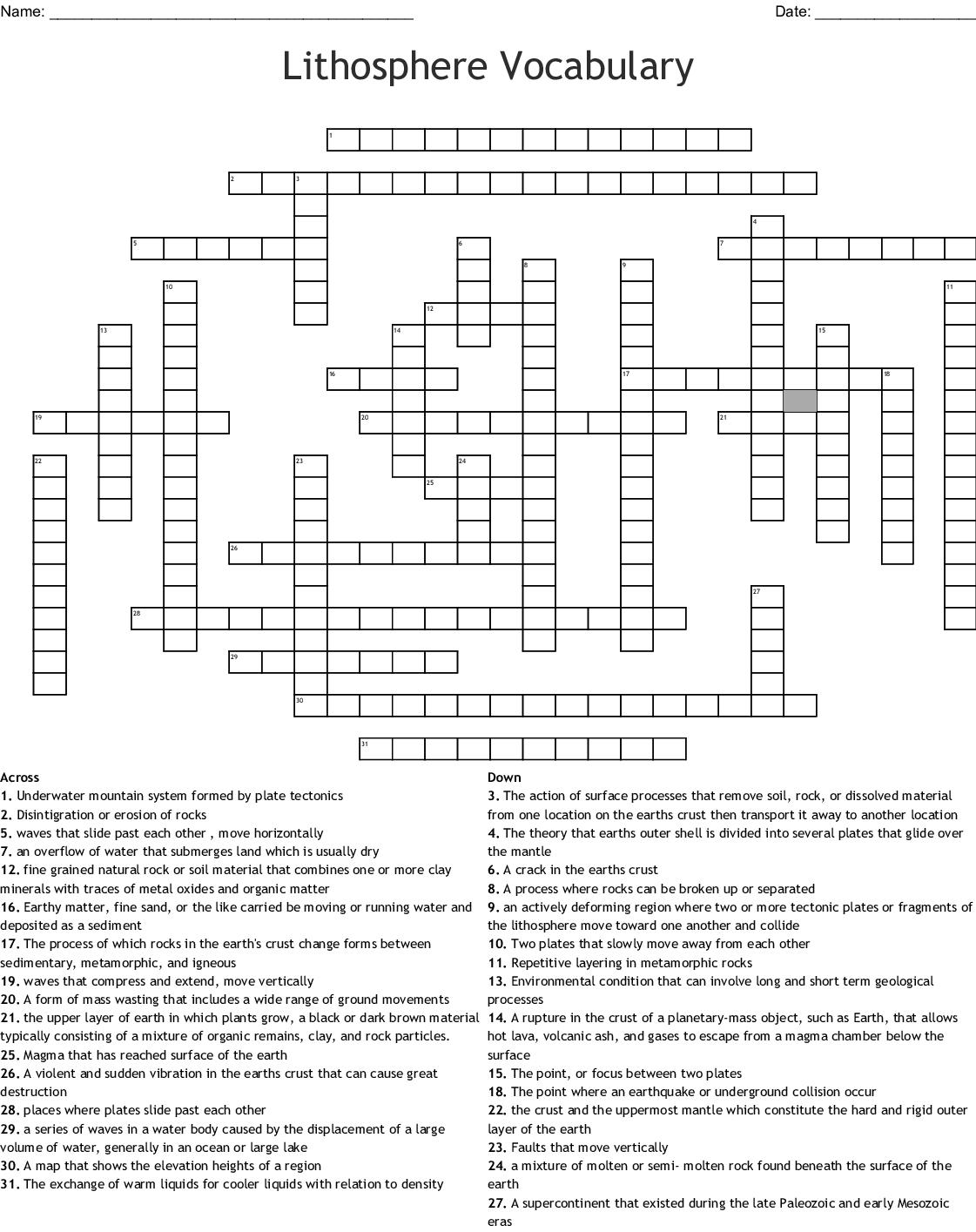 Lithosphere Vocabulary Crossword