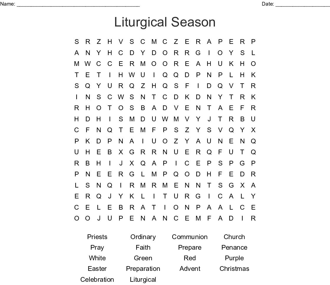 Liturgical Season Word Search