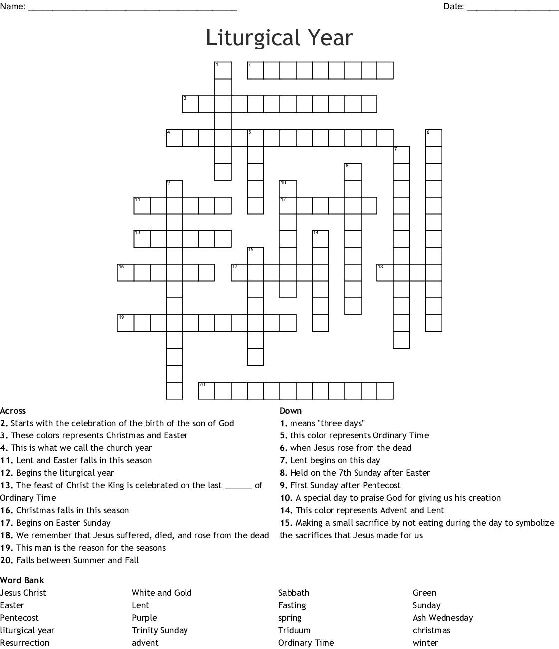 Liturgical Year Crossword