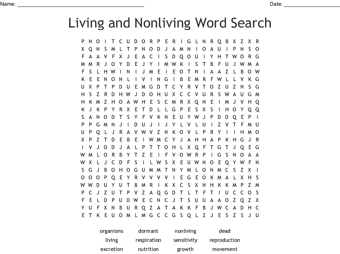 Life Processes Word Search
