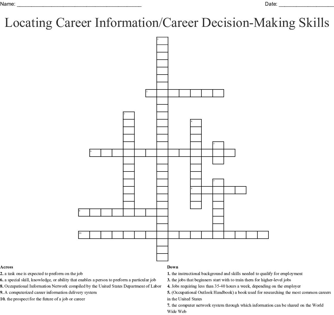 Locating Career Information Career Decision Making Skills Crossword