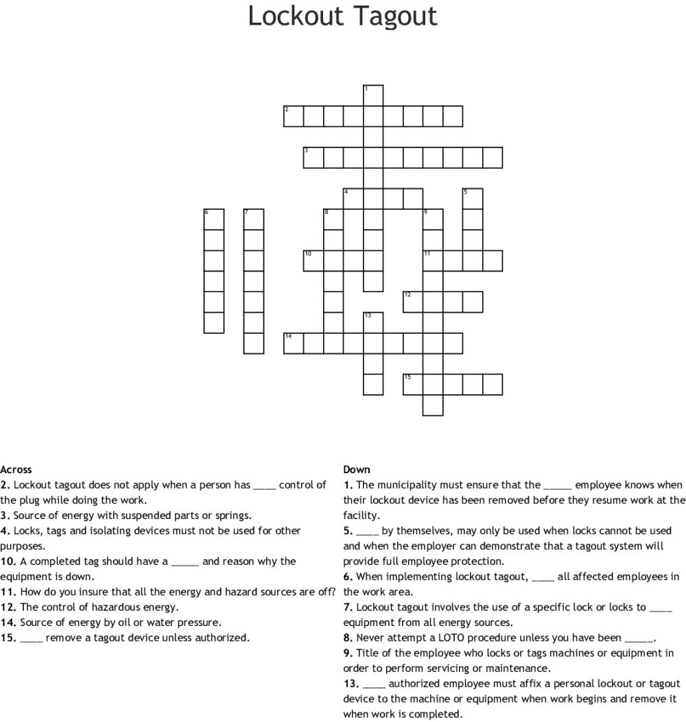 medium resolution of lockout tagout crossword
