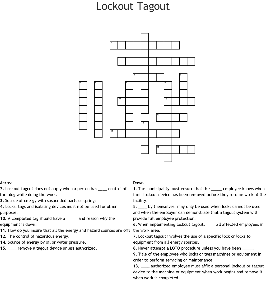 hight resolution of lockout tagout crossword