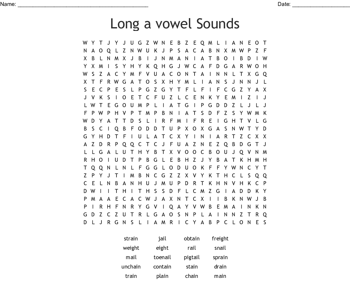 Words With Long Vowel Sounds Word Search