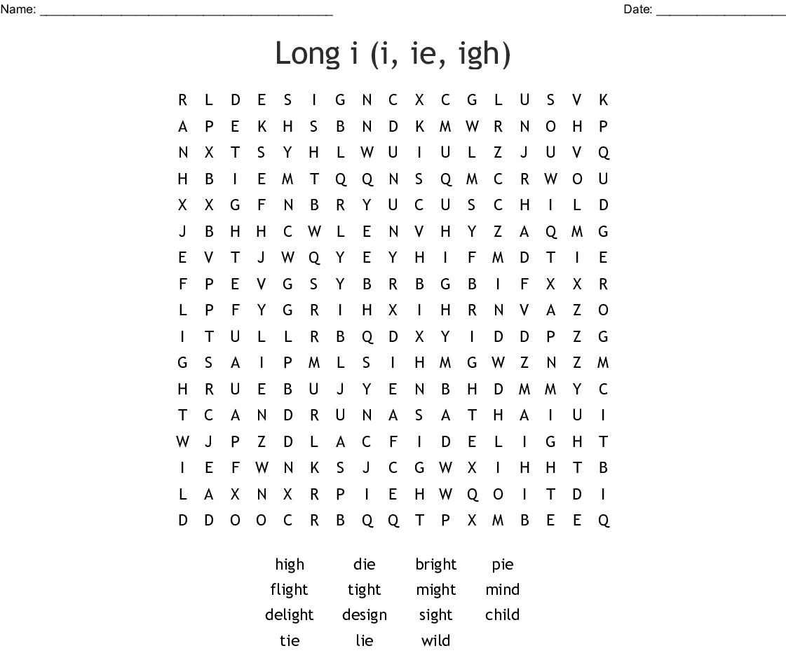 Long I I Ie Igh Word Search
