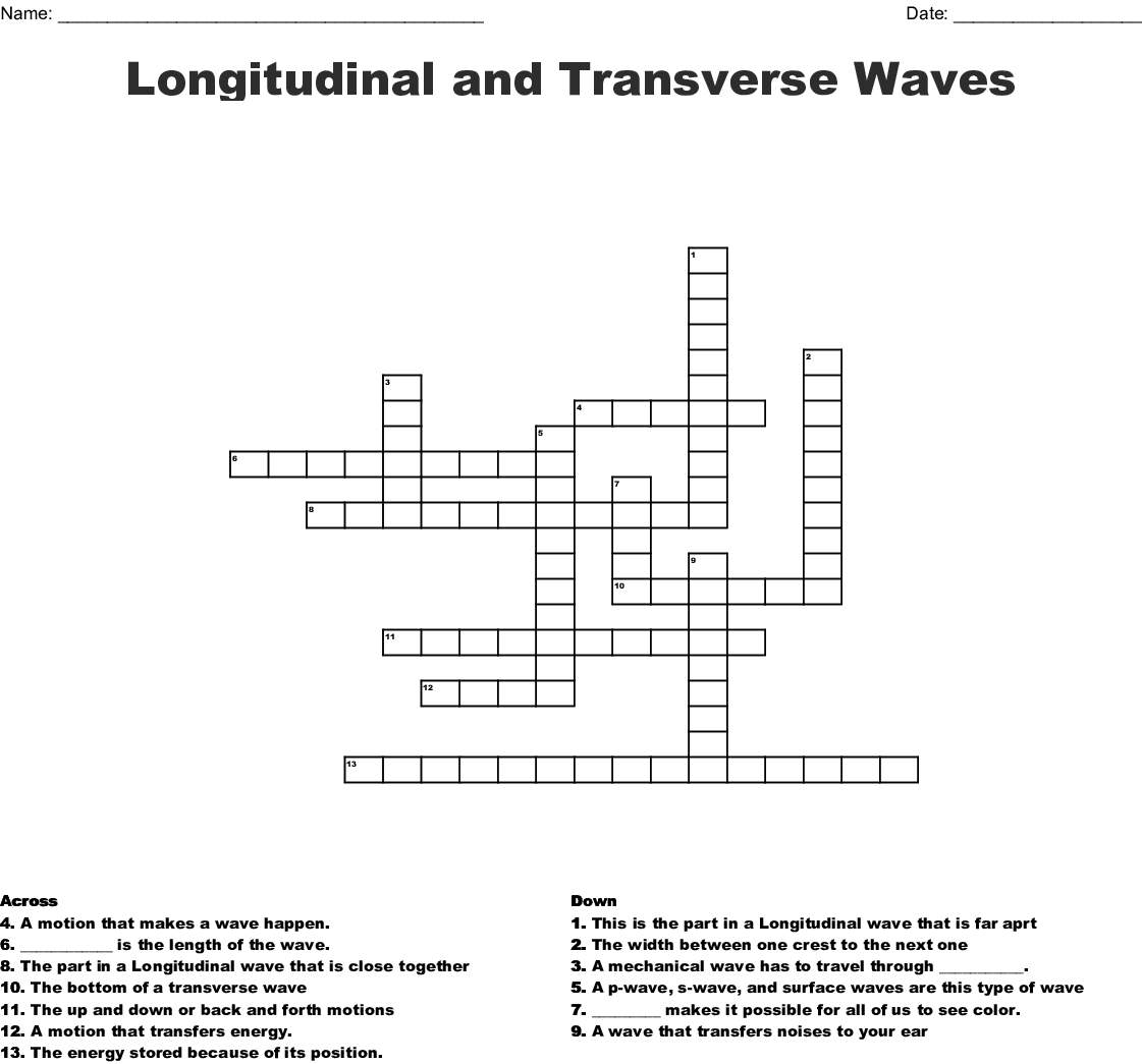 Longitudinal And Transverse Waves Crossword