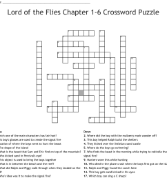 lord of the flies chapter 1 6 crossword puzzle [ 1121 x 1107 Pixel ]