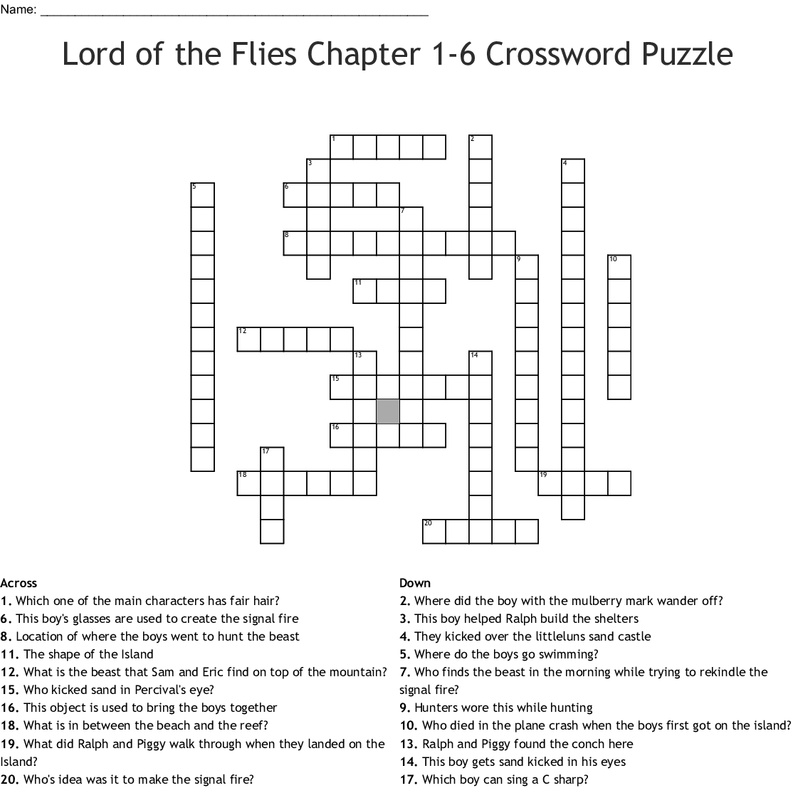 hight resolution of lord of the flies chapter 1 6 crossword puzzle