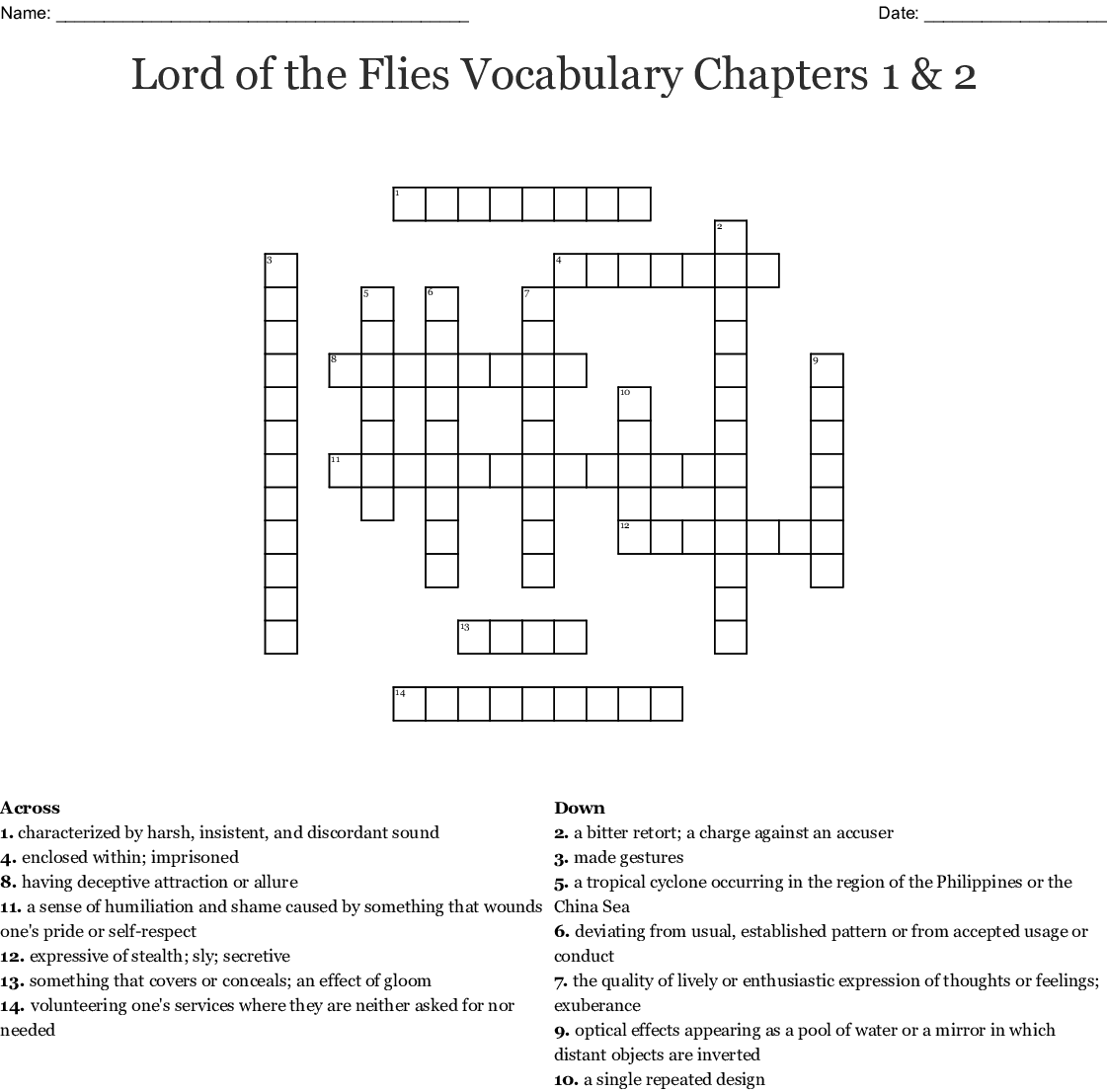 Lord Of The Flies Vocabulary Chapters 1 Amp 2 Crossword