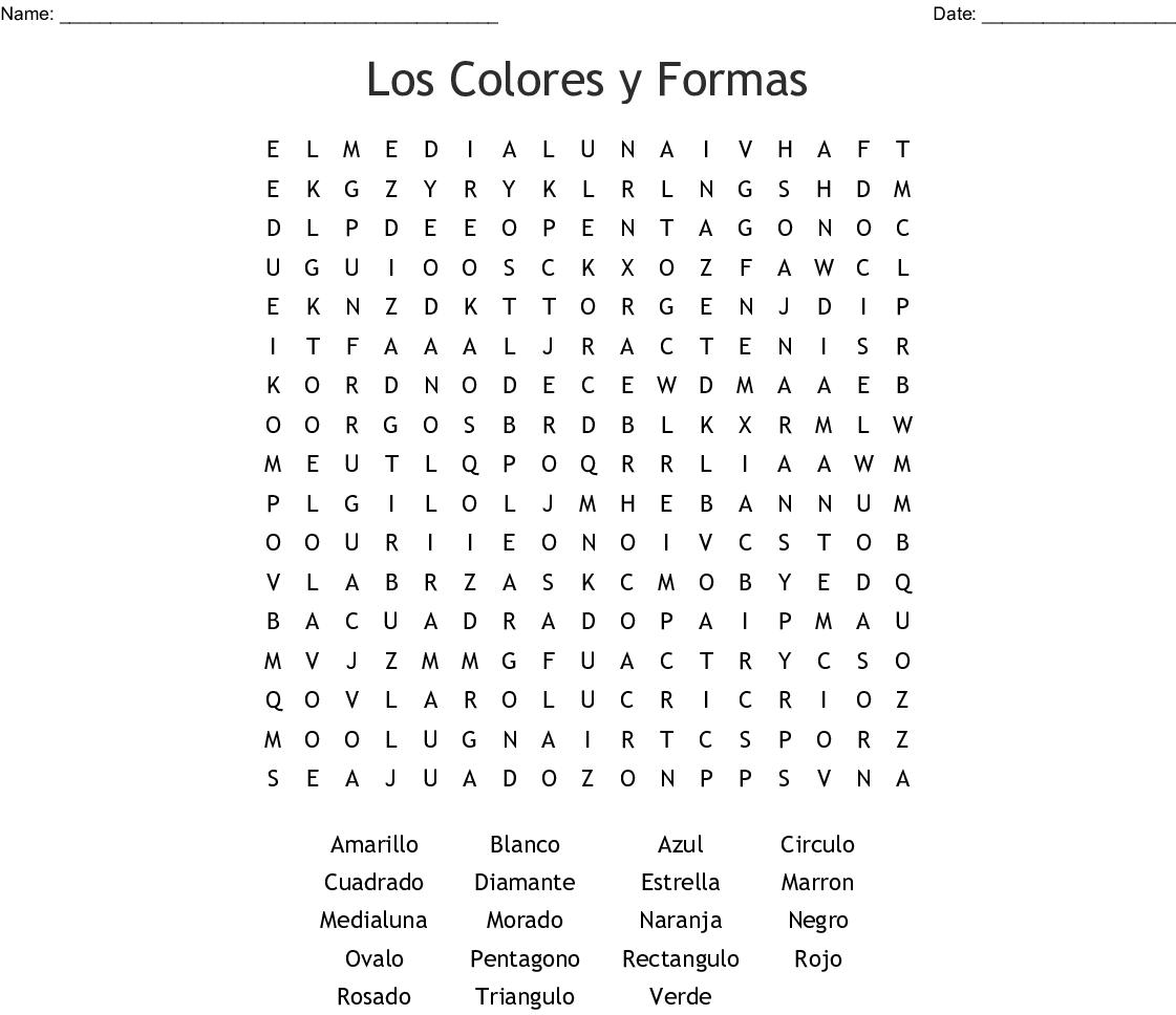 Los Colores Word Search