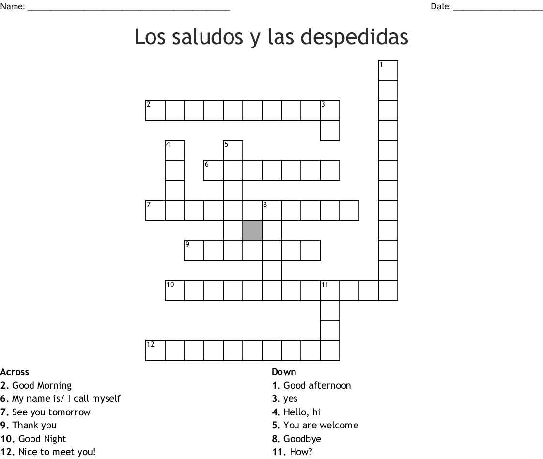 Worksheet On Spanish Greetings
