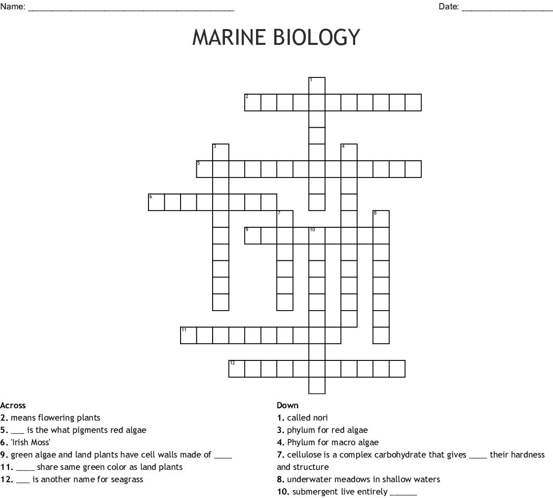 Marine Biology Crossword
