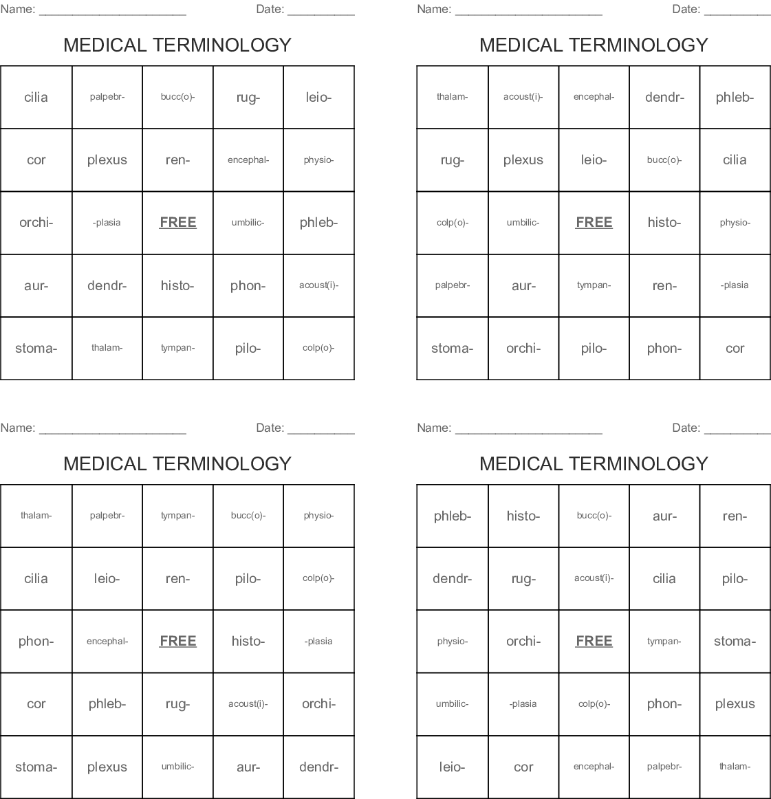 Medical Terminology Lesson 6 Worksheet