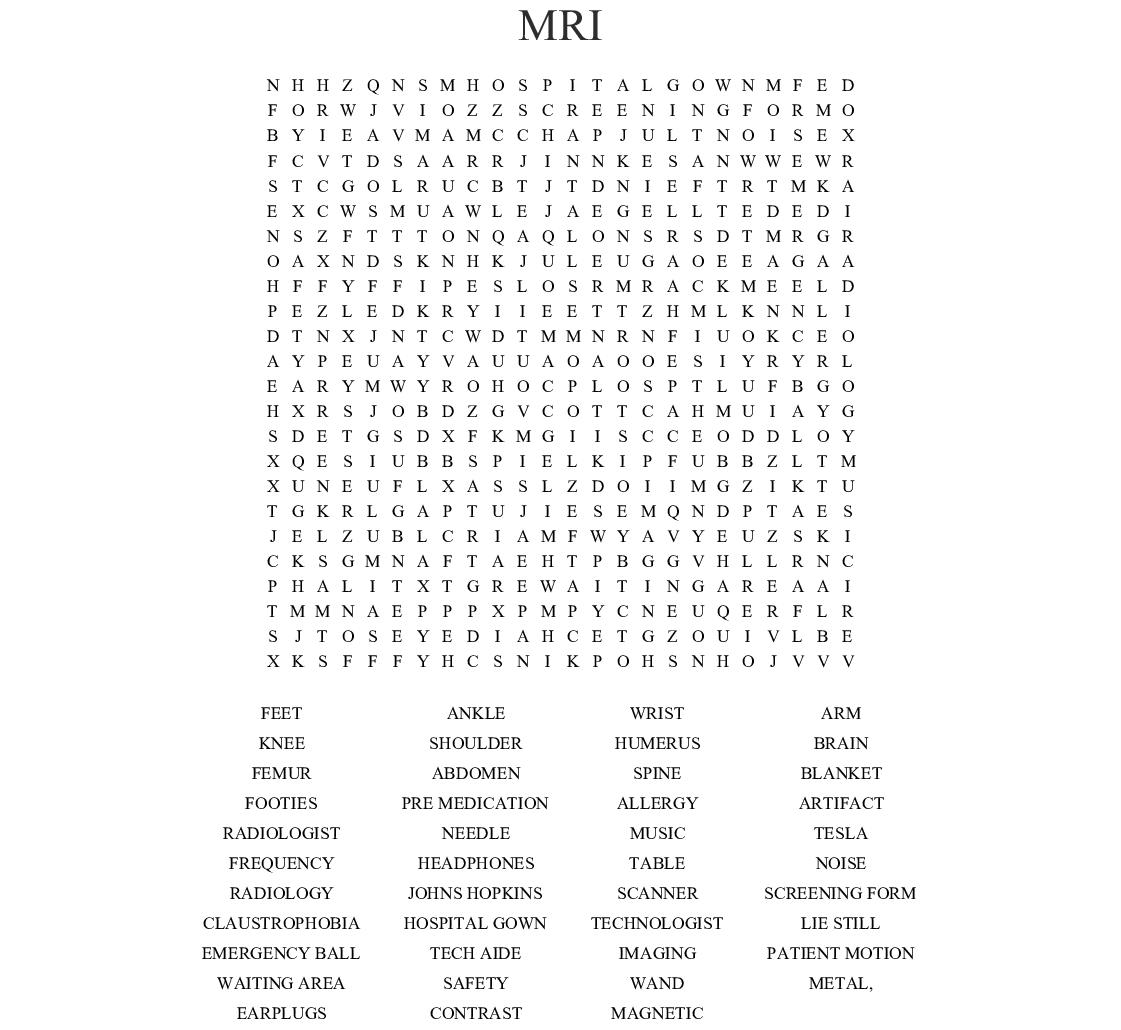 Mri Word Search