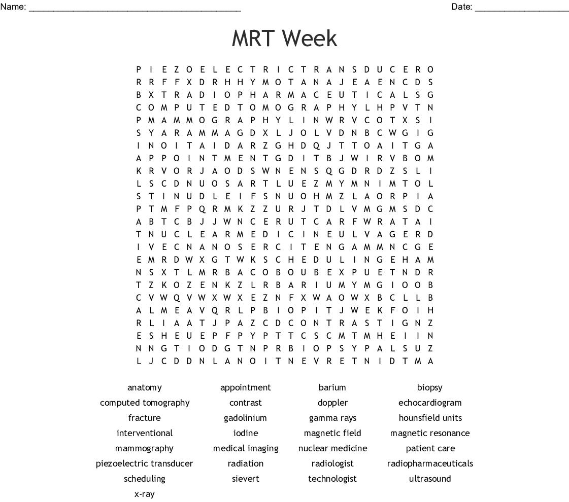 Rad Tech Week Word Search