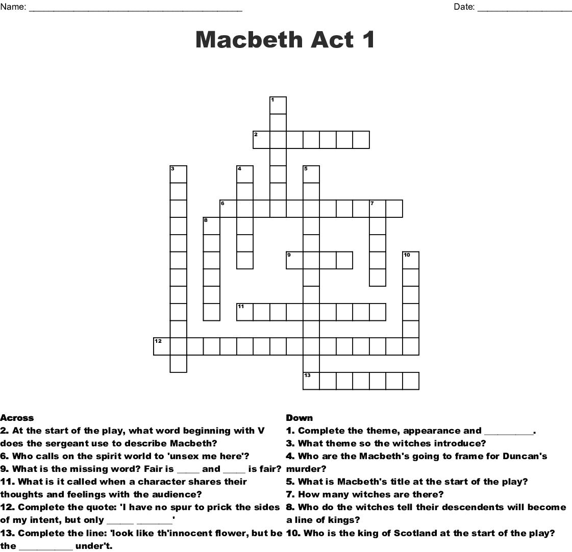 Macbeth Crossword