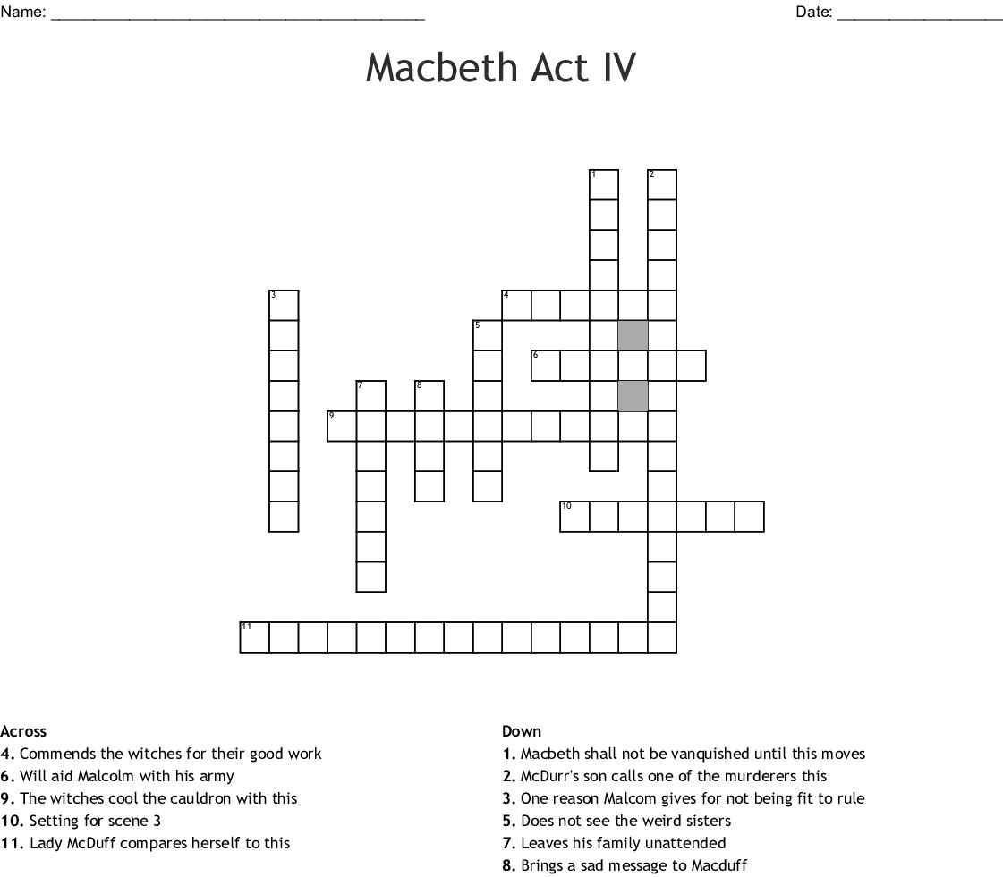Macbeth Act Iv Crossword