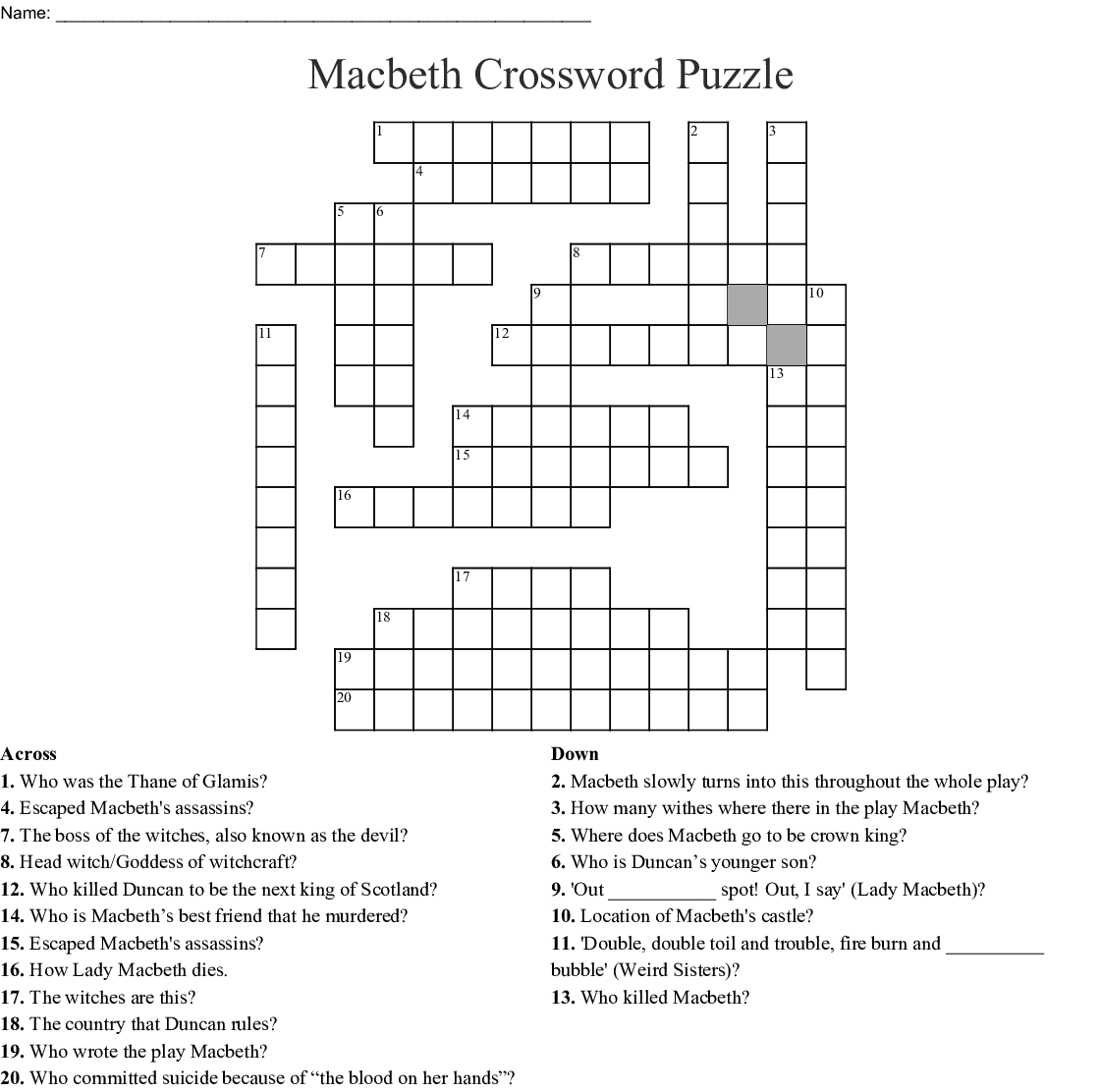 Macbeth Crossword Puzzle