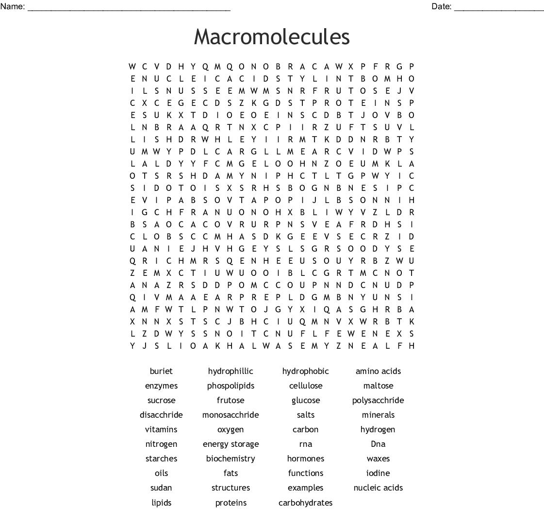 Macromolecules Crossword