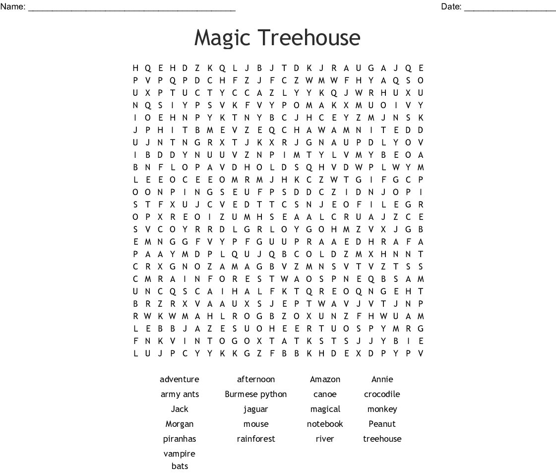 Magic Treehouse Word Search