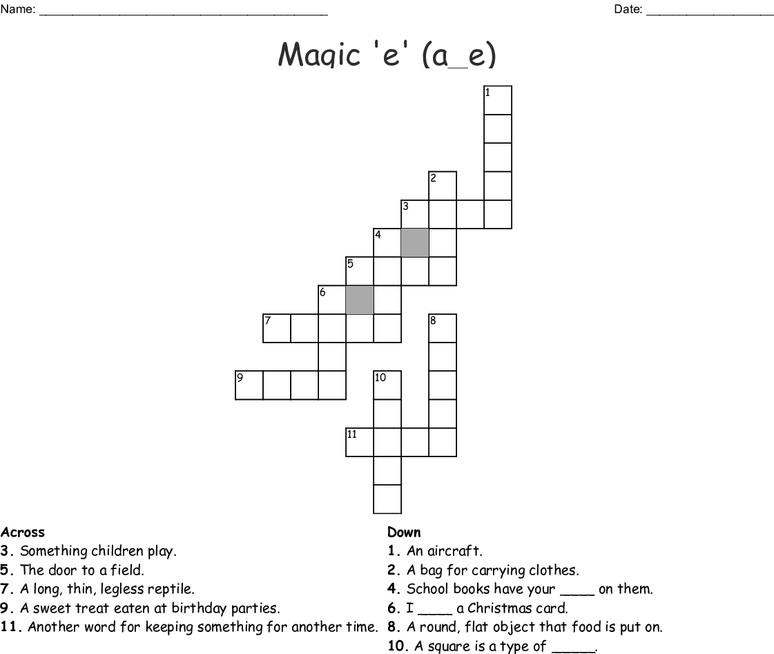 Silent E Crossword Puzzle