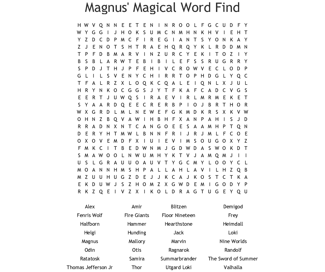 Magnus Magical Word Find Word Search